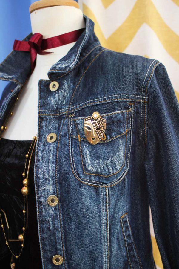 Veste jean customisé velours madz lab